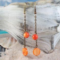 Untamed Earrings  orange shell chain dangle by MySoulCanDance.etsy.com