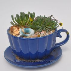 Sleeping Mermaid Teacup: #fairygarden #fairyhouses