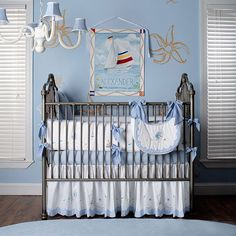 Not sure about this crib, but I love these colors together and the starfish!