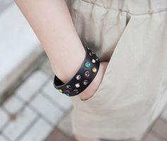 220c153aba2f9b Color Jeweled Leather Bracelet by Miamasvin  Miamasvin  KoreanFashion   AsianFashion Korean Outfits