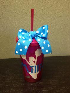 (cute idea) Personalized Cheerleading Cheer Tumbler by SwirlyTwirlyDesigns, $12.00