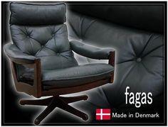 北欧 J720美品デンマークfagas総革リクライニングチェア Scandinavian modern chairs ¥20500yen 〆04月18日