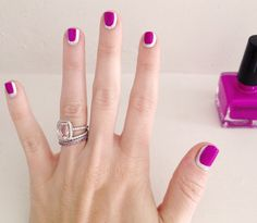 pink and silver Chanel nails