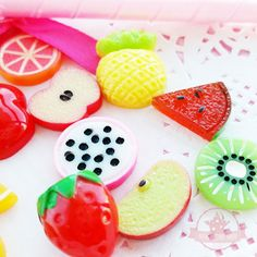 16 pcs Fruits Cabochon Mix Assorted Resin Kawaii by AmazingDIYShop