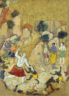 A Giant Demon, possibly Atikaya, Confronts Rama's Army Period: Sub-imperial Mughal Date: ca. 1595–1605 Culture: India (Madhya Pradesh, Datia?)