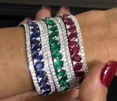 Saphhire, emerald and ruby bangles
