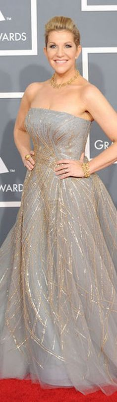 Red Carpet Fashion dress - fairytale grey gown, adorned with threads of gold.