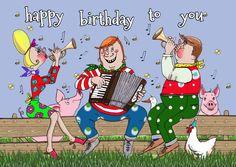 Het plattelandsorkest speelt een vrolijk deuntje voor de jarige. Een originele Ings kaartjes kaart.