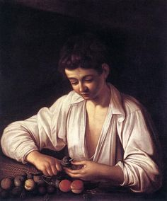 Boy Peeling a Fruit c. by artist Michelangelo Merisi da Caravaggio. hand-painted museum quality oil painting reproduction on canvas. Baroque Painting, Baroque Art, Italian Painters, Italian Artist, Michelangelo Caravaggio, St Jean Baptiste, List Of Paintings, Italian Baroque, Canvas Art