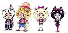 One piece animal hats