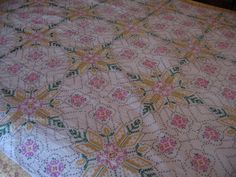 CROSS STITCH Design Quilt Vintage ONE of a Kind by KitKatQuilter, $250.00