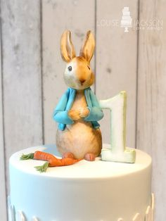 Close up of Peter Rabbit made from modelling chocolate