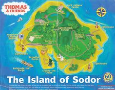 Map of the Island of Sodor - Thomas The Train party - landmarks around backyard