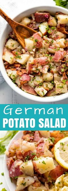 Old Fashioned German Potato Salad is dressed with a dijon vinegar dressing and can be served either hot or cold. #stayathomechef #sidedish #potatosalad