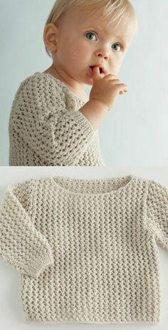 Baby Pullover stricken tolles Modell Garn weiss Baby Knitting Patterns, Baby Sweater Patterns, Knit Baby Sweaters, Knitting For Kids, Crochet For Kids, Baby Patterns, Free Knitting, Knit Crochet, Knitting Needles