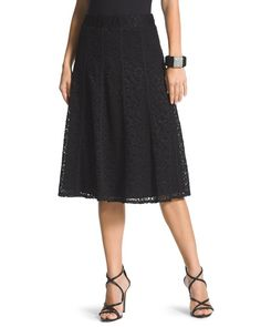 "Black Lace Skirt  Look and feel your most feminine in this black lace skirt. The gorgeous overlay has vertical seamed details that add a little something extra. Comfortable elastic waistband. Flared silhouette. Lined. Regular length: 24""."