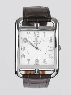 Hermes Brown Crocodile and Stainless Steel Cape Cod TGM Quartz Watch