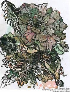 FlowerConcentricLinesGreenPeach.jpg (549×721)