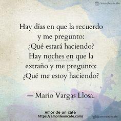 """""""Hay días en que la recuerdo y me pregunto: ¿Qué estará haciendo? Hay noches en que la extraño y me pregunto: ¿Qué me estoy haciendo?""""— Mario Vargas Llosa. Mario Vargas, Lema, Love Quotes, Nostalgia, Writer, Memories, Thoughts, Words, Truths"""