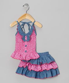 Take a look at this Pink Polka Dot Halter Top & Skirt - Infant, Toddler & Girls by Lele Vintage on today! Cute Kids Fashion, Cute Outfits For Kids, Toddler Fashion, Girl Fashion, Little Girl Dresses, Girls Dresses, Baby Girl Patterns, Kids Frocks, Halter Tops