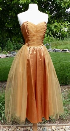 Vintage 1950's 1960's Prom Dress Amber Satin and Tulle w/Bolo Tea Length  Jr 11