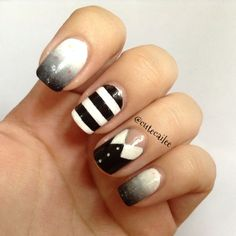 Wednesday And Pugsley Addams Inspired Nails