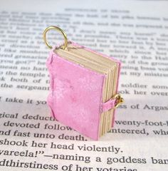 Miniature Book Necklace Charm Mini Leather Thick Book Charm Pink by JanDaJewelry, $30.00