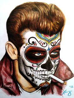 James Dean meets Dia de Los Muertos - Skullspiration.com - skull designs, art, fashion and more