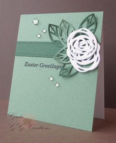 handmade Easter card from GG Creations ... monochromatic  green ... clean and simple ... one layer ... die cut doodle line flowers ... luv the dew drop accents ... lovely card!