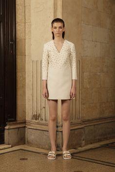 Francesco Scognamiglio | Resort 2016 | 02 White 3/4 sleeve mini dress with star details