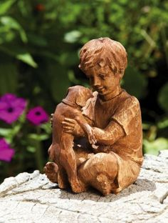 """7"""" Young Boy Holding """"Buddie"""" Dog Outdoor Patio Garden Figure by Evergreen. $29.99. Young Boy Holding """"Buddie"""" Dog FigureItem #841828Whimsical garden figure features a young boy sitting down while holding a puppy dogDimensions: 7""""H x 4""""W x 5""""DMaterial(s): man-made material"""
