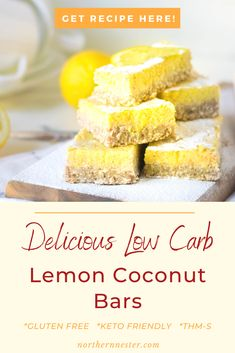 These incredible low carb lemon coconut bars are a delicious guilt free treat! Totally gluten and sugar free, these tasty bars are the perfect snack or dessert to give you an energy boost! #lowcarblemonbars #lowcarbcoconutlemonbars #lowcarblemonbarrecipe Lemon Coconut Bars, Lemon Bars, Best Low Carb Recipes, Lemon Desserts, Low Carb Breakfast, Guilt Free, Sugar Free, Gluten, Cream Pies
