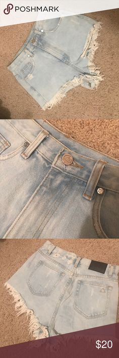 Unif cheeky shorts Size 28, size 6! Shows a bit of cheek. Worn once. Not stained. Distressed UNIF Shorts Jean Shorts