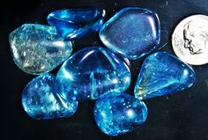 aqua aura quartz blue tumbled 28 grams by rainbowROCKSandBEAD, 25.00