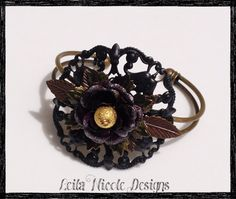 Filigree Stampings Flower Bracelet  Flower by LeilaNicoleDesigns #cuffbracelet