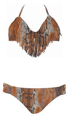 5cd86bceeb Lspace Serpentine Audrey Fringe Halter  Bikini Halter Bikini
