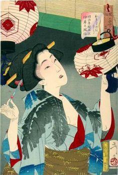 The Appearance of a Kyoto Waitress in the Meiji era, by Tsukioka Yoshitoshi (Japanese, 1839–1892).