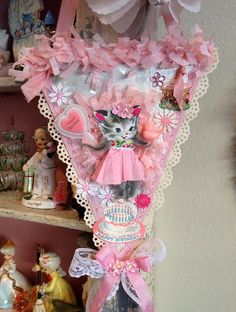 Vintage Style Pink Whimsical Kitty Birthday Keepsake Banner One-of-a-kind
