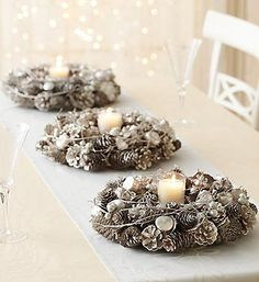 Whether for your door or for a Christmas table centerpiece, platinum Christmas wreaths make for an elegant and unique Christmas decoration for your door or table! Starting at just $29.99!