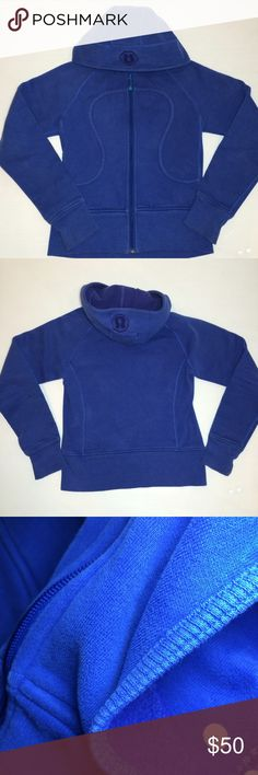 Lululemon Scuba Hoodie Jacket Sweatshirt Bright blue scuba hoodie. Comes with emergency Lulu hair tie on zipper pull!  No thumb holes. Good condition - no flaws. Size 4. No trades. lululemon athletica Tops Sweatshirts & Hoodies