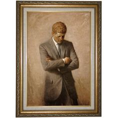 'Portrait of President John F Kennedy 1970' by Aaron Shikler Framed Painting Print