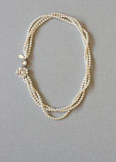 vintage art deco inspired bridal pearl necklace