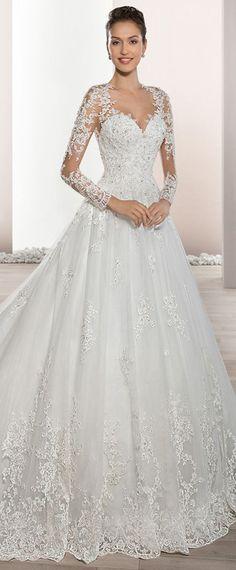 Junoesque Tulle Sheer Jewel Neckline A-Line Wedding Dress With Beaded Lace Appliques