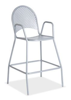 """""""Euroma Metal Bar Stool""""  Strong and durable. This universal outdoor stool can be combined with any outdoor table for your venue. Stackable 5-6 high for easy storage. Made in Powder coated steel and UV-resistant.  Please contact us for pricing (718)363-3097."""
