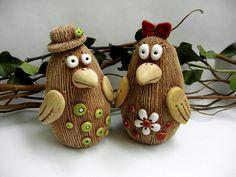 Jarabáčkovi - on request How To Make Clay, Clay Animals, Clay Art, Polymer Clay, Pottery, Birds, Christmas Ornaments, Holiday Decor, Home Decor