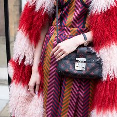 chevron print and statement fur with Louis Vuitton crossbody bag