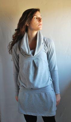 Grey Dress NANA WINTER Women Sweater sweatshirt by kupukupuapparel, $93.00