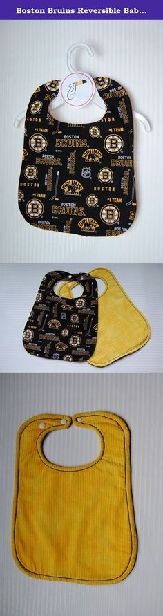 Boston Bruins Reversible Baby Bib. Join your favorite Hockey Team for meal time with this unique baby bib! Our Baby Bibs are all reversible and can be used on either side. They also have a towel cloth in between both outer fabrics for maximum absorption. They are oversized bibs to catch all the messes your little one can make during meal time. Measures approximately 13.5 inches from top to bottom and 10.5 inches across at widest point. They have two snap-ons to fit most infant and baby…