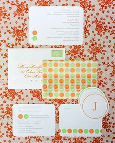 Polka Dot Invitation. The monogrammed dot motif ties together the couple's letter-pressed invitations, reply cards, thank-you notes, and coasters.