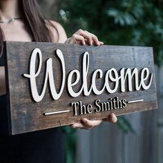 Personalized Sign, Welcome Design )))) The Letters On This Sign are not painted like other signs but cut out of wood and then Mounted to the background giving the letters a effect. Wood Wedding Signs, Diy Wood Signs, Custom Wood Signs, Engraved Wood Signs, Wooden Door Signs, Vintage Wood Signs, Pallet Wedding, Carved Wood Signs, Family Wood Signs